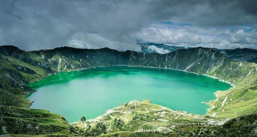 「キロトア湖」エクアドル, アンデス山脈