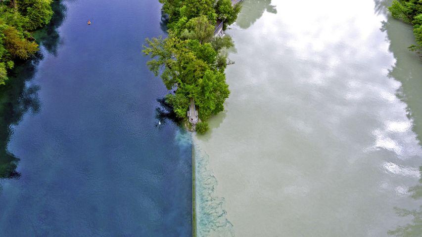 「ローヌ川とアルヴ川の合流地点」スイス, ジュネーブ