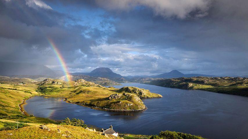 「インチャード湖の虹」スコットランド, 北西ハイランド