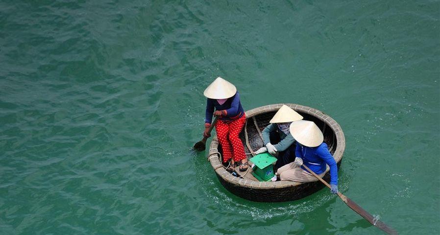 「竹で編んだ小船」ベトナム