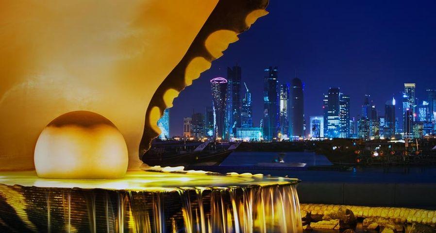 「真珠広場から眺めた首都ドーハ」カタール, コーニッシュ