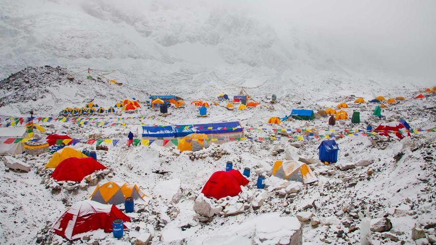 「クープ氷河のベースキャンプ」ネパール, エベレスト