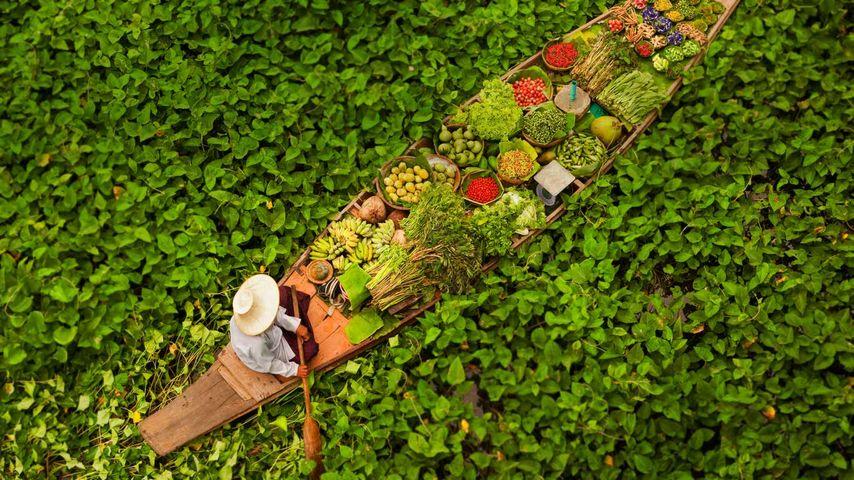 「水上マーケット」タイ, バンコク