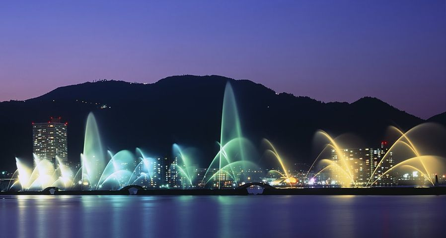 「びわこ花噴水」滋賀, 琵琶湖, 大津港