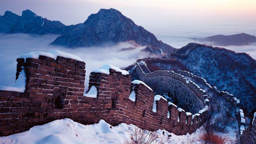 「雪の万里の長城」中国, 北京