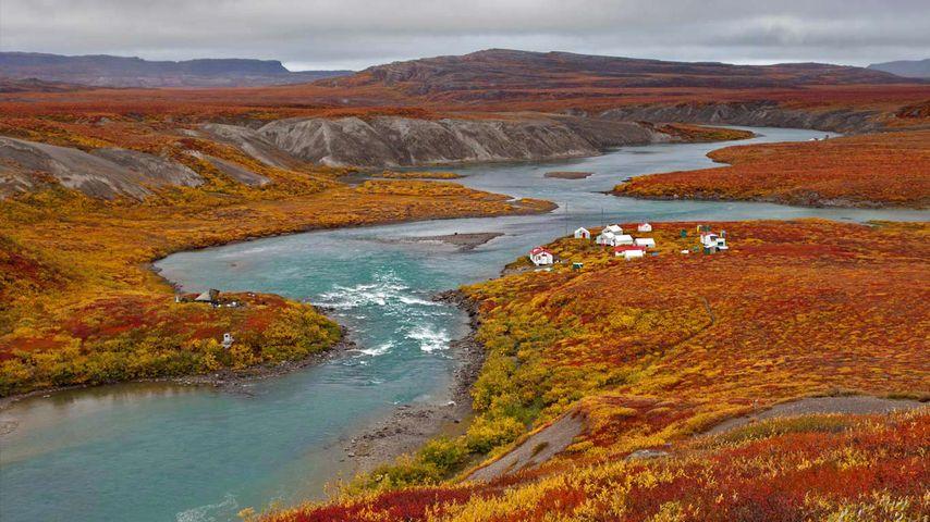「ツリー川と釣り小屋」カナダ, ヌナブト準州