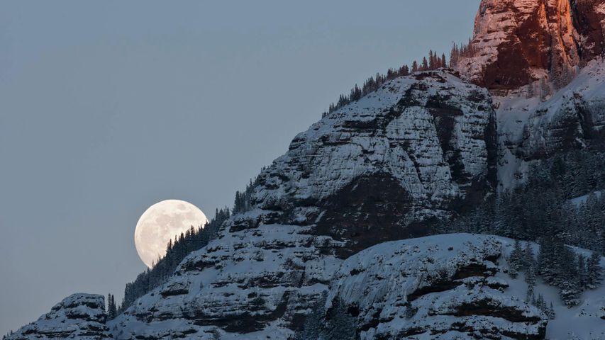 「荒野の満月」米国, イエローストーン国立公園