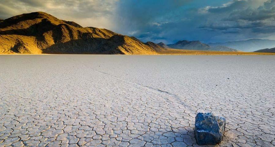 「プラーヤの歩く石」アメリカ, カリフォルニア州, デスバレー国立公園