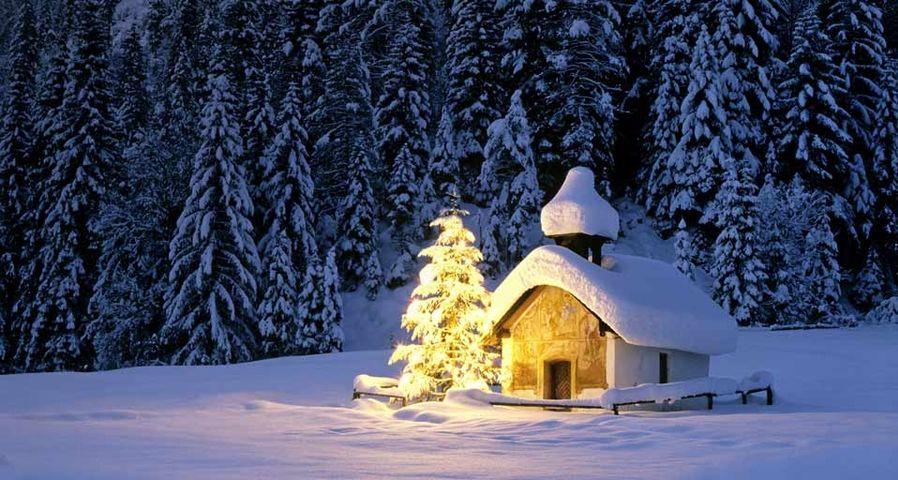 「雪の日の風景」ドイツ, バイエルン地方