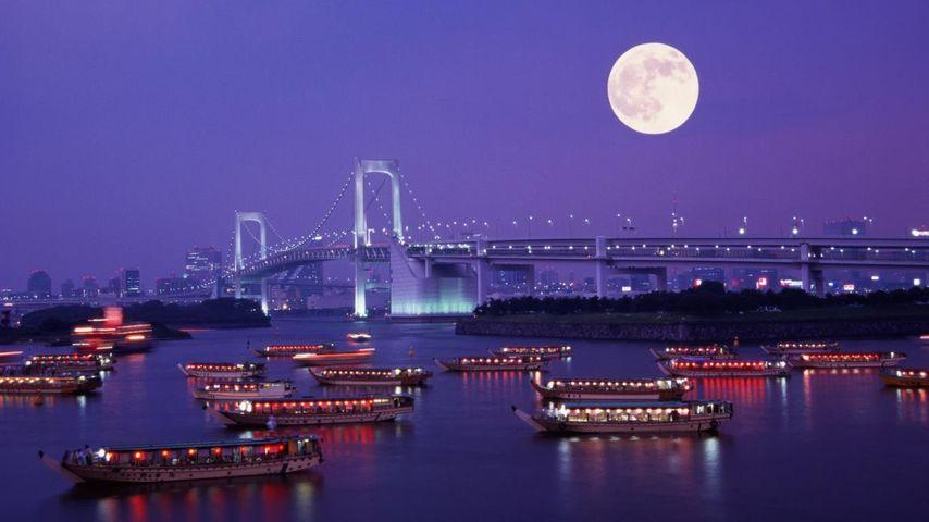 「レインボーブリッジと満月」東京, お台場
