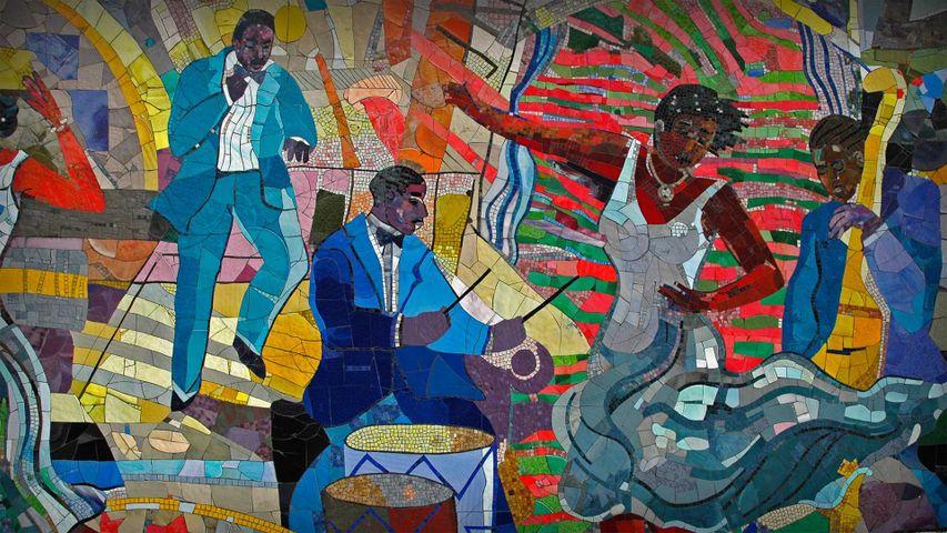 「ハーレムのルイス・デルサートの壁画」米国, ニューヨーク州