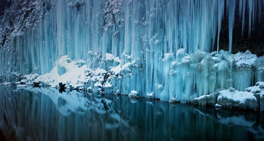 「白川氷柱群」長野県, 木曽町