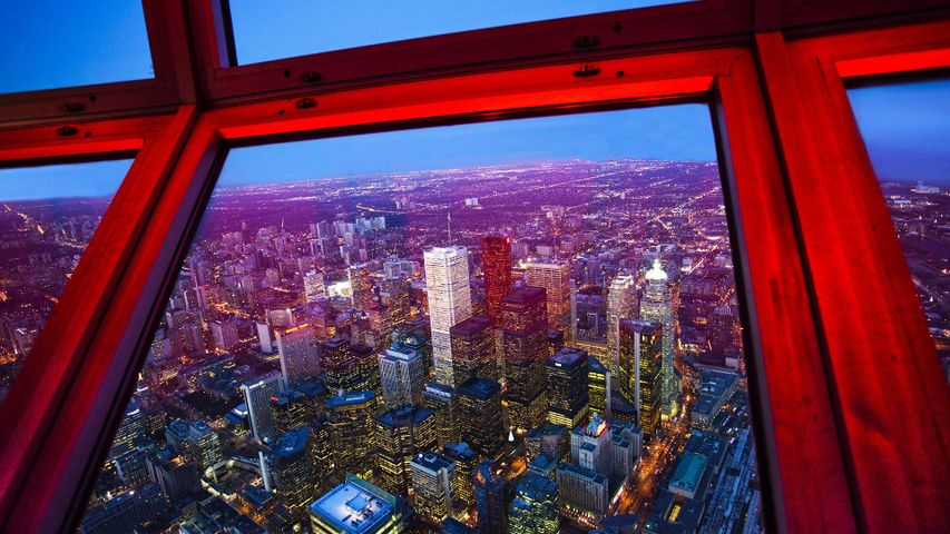 「CNタワーから見たトロント市街」カナダ