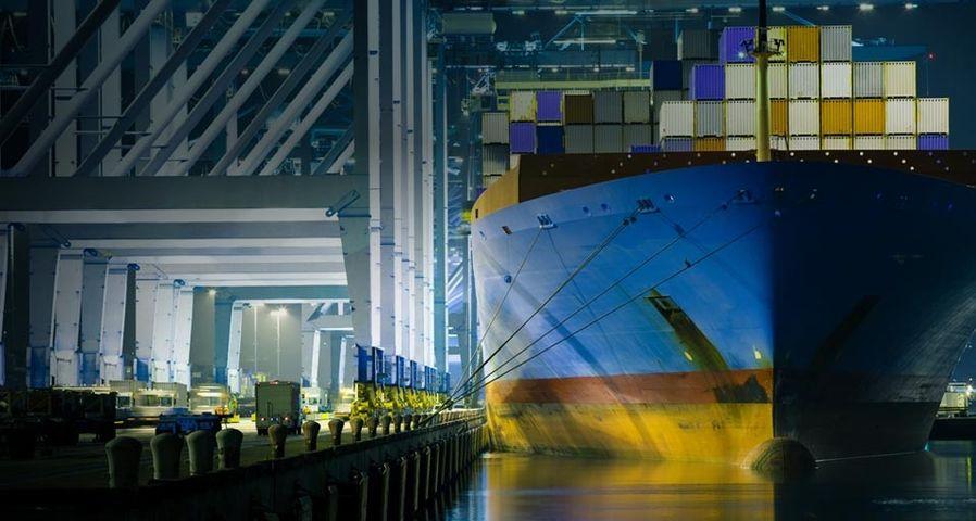 「ロサンゼルス港のコンテナ船」アメリカ, カリフォルニア州