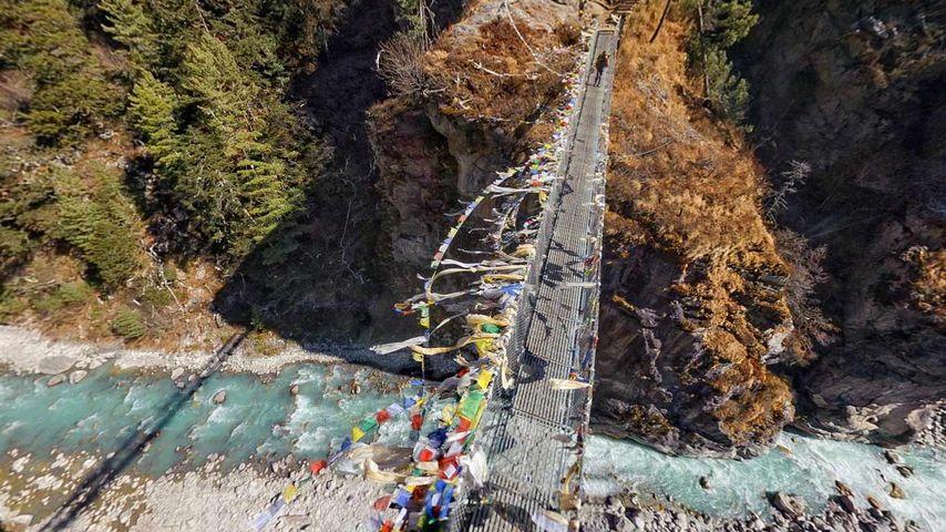 「ドゥード・コシの吊り橋」ネパール, エベレスト街道