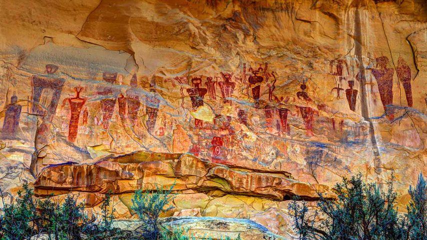 「セゴキャニオンの岩絵」アメリカ, ユタ州
