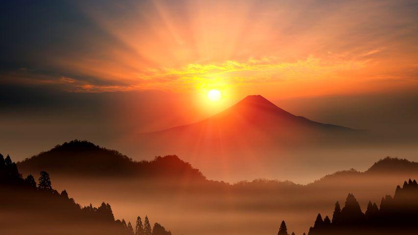 「日の出」富士山