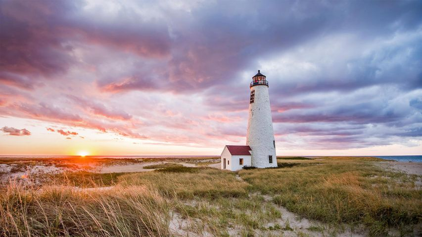 「グレート・ポイント灯台」米国マサチューセッツ州