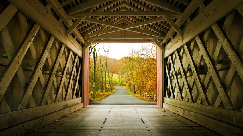 「アシュランド屋根付橋」アメリカ, デラウェア州