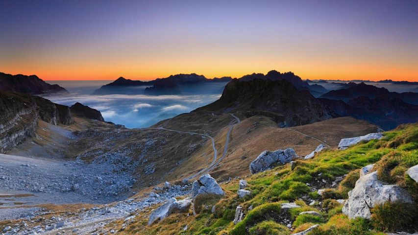 「マンガート峠の夕焼け」スロベニア