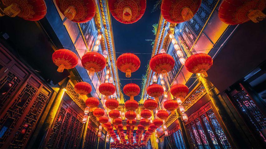 「赤い提灯」中国, 四川省, 成都