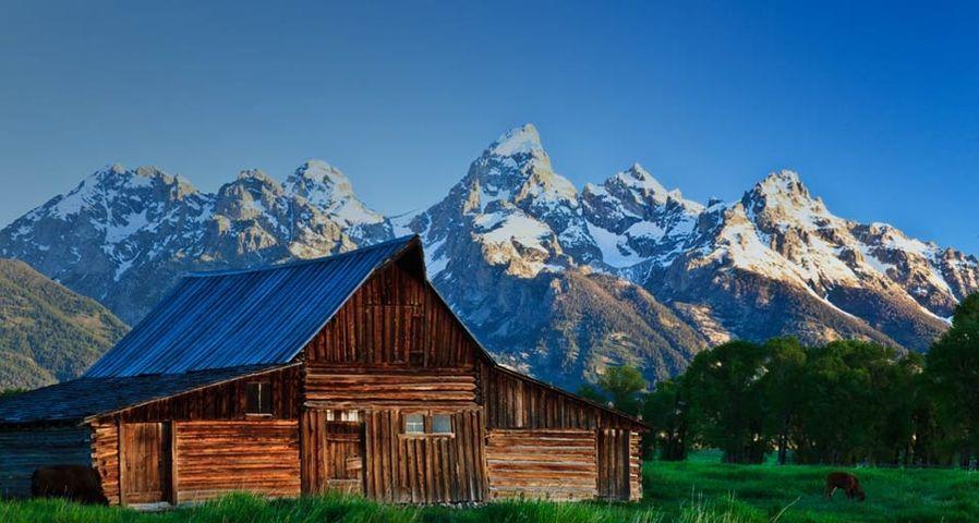 「グランド・ティトン山と開拓時代の家」アメリカ, ワイオミング州