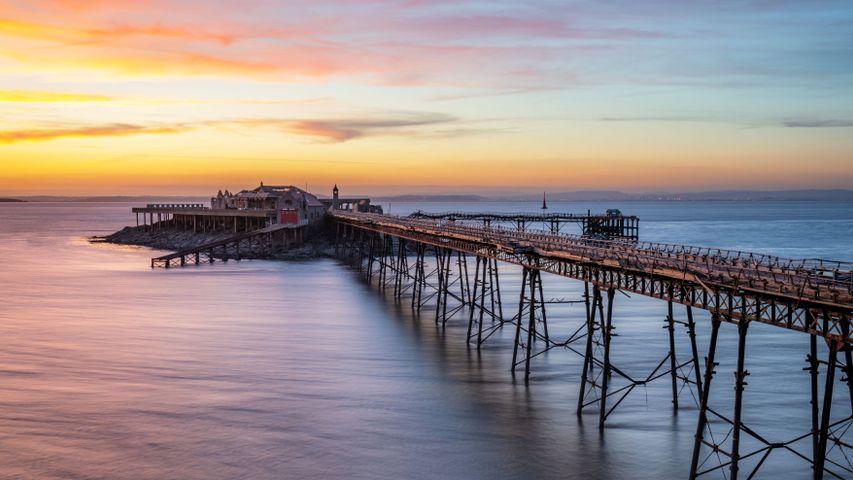 「ブリストル海峡のバーンベック桟橋」イギリス, ウェストンスーパーメア