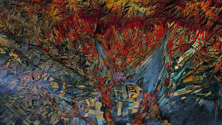「ランドサット8号の赤外線画像」カザフスタン