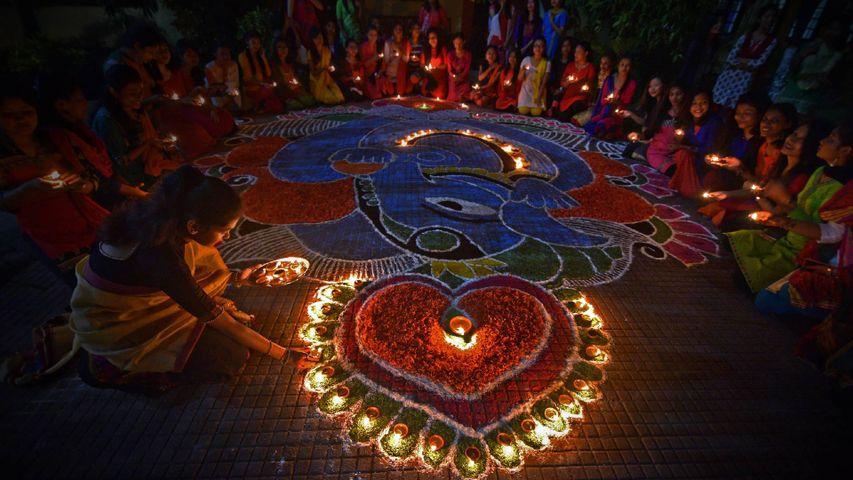 「ディワリのランプ」インド, グワーハーティー
