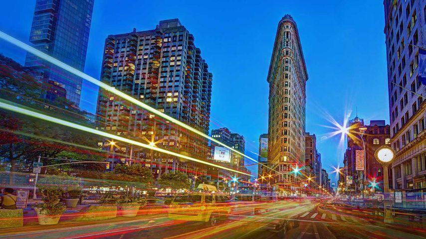 「フラットアイアンビルディング」アメリカ, ニューヨーク市