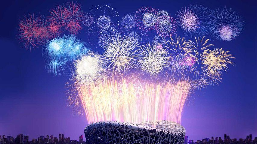 「春節の花火」中国, 北京