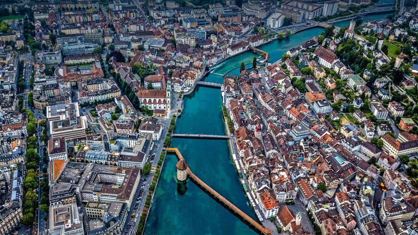 「ロイス川のカペル橋」スイス, ルツェルン