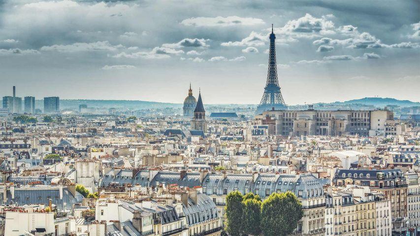 「ノートルダム大聖堂から見たエッフェル塔」フランス, パリ