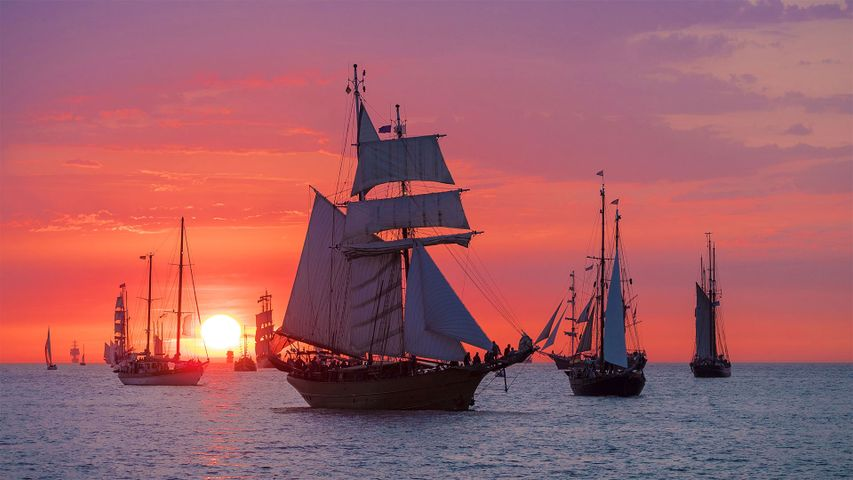「夕日と帆船」ドイツ, ヴァーネミュンデ