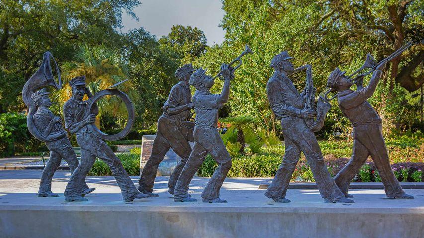「ルイ・アームストロング公園の彫像」米国ルイジアナ州, ニューオーリンズ