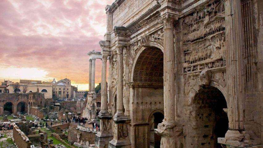 「セプティミウス・セウェルスの凱旋門」ローマ, フォロ・ロマーノ