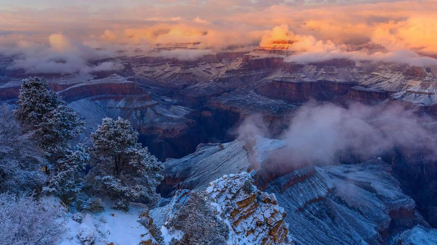 「アイシス寺院の冬」米国アリゾナ州, グランド・キャニオン国立公園