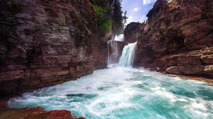 「セント・メアリー滝」米国モンタナ州, グレイシャー国立公園